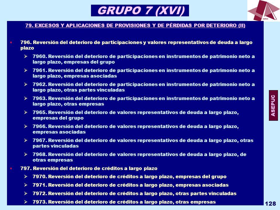 GRUPO 7 (XVI) 79. EXCESOS Y APLICACIONES DE PROVISIONES Y DE PÉRDIDAS POR DETERIORO (II)