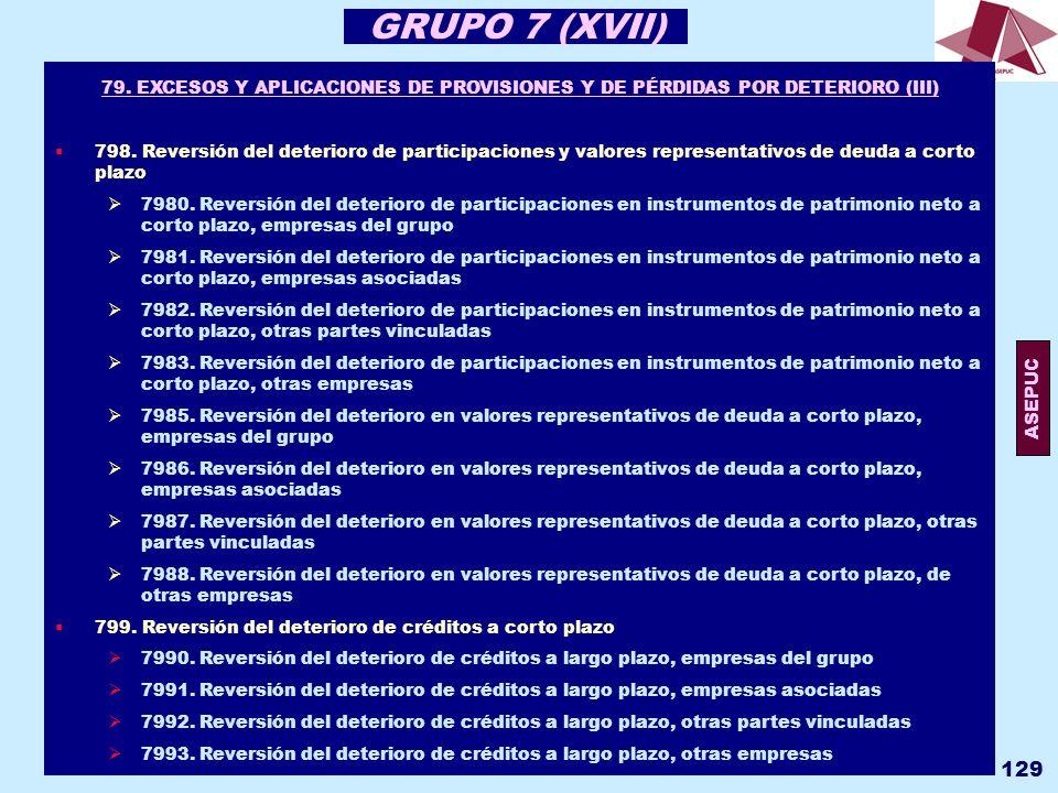 GRUPO 7 (XVII) 79. EXCESOS Y APLICACIONES DE PROVISIONES Y DE PÉRDIDAS POR DETERIORO (III)