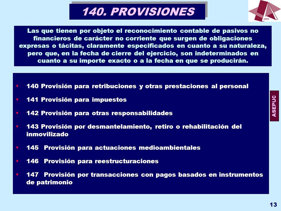 140. PROVISIONES