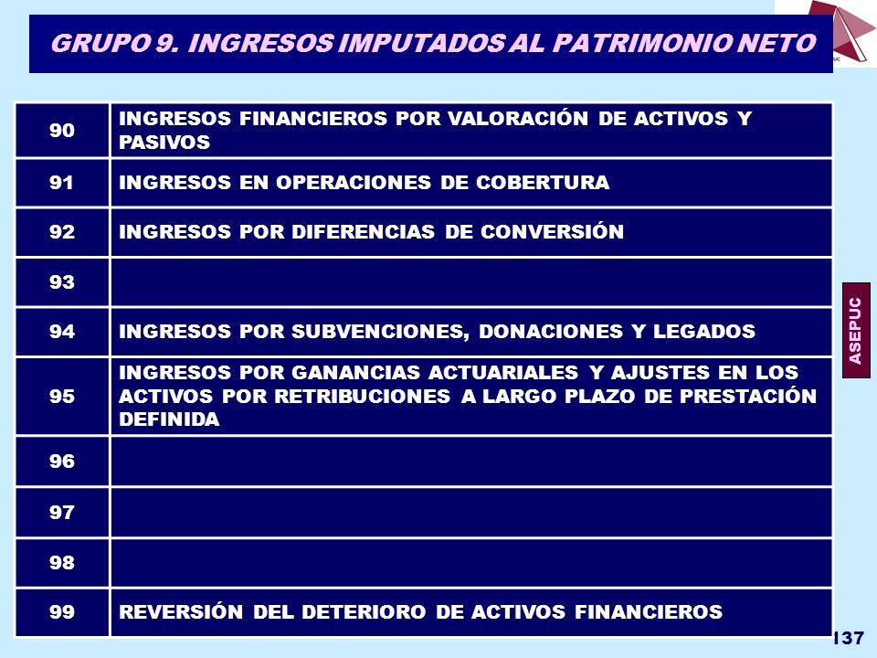 GRUPO 9. INGRESOS IMPUTADOS AL PATRIMONIO NETO