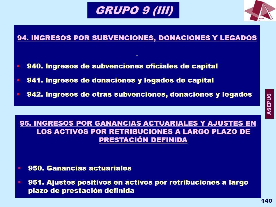 94. INGRESOS POR SUBVENCIONES, DONACIONES Y LEGADOS
