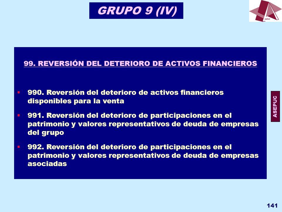 99. REVERSIÓN DEL DETERIORO DE ACTIVOS FINANCIEROS