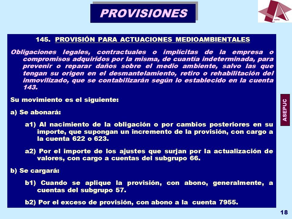 145. PROVISIÓN PARA ACTUACIONES MEDIOAMBIENTALES