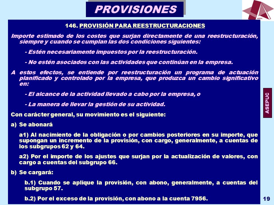 146. PROVISIÓN PARA REESTRUCTURACIONES