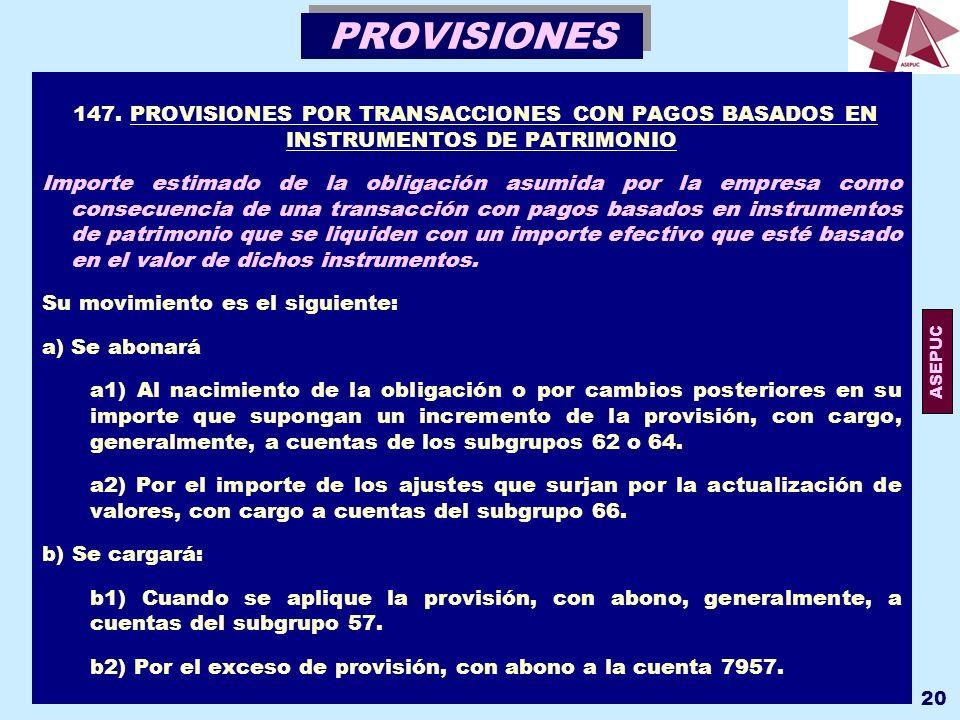 PROVISIONES 147. PROVISIONES POR TRANSACCIONES CON PAGOS BASADOS EN INSTRUMENTOS DE PATRIMONIO