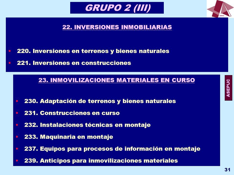 GRUPO 2 (III) 22. INVERSIONES INMOBILIARIAS