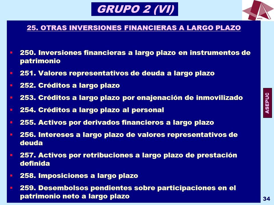25. OTRAS INVERSIONES FINANCIERAS A LARGO PLAZO