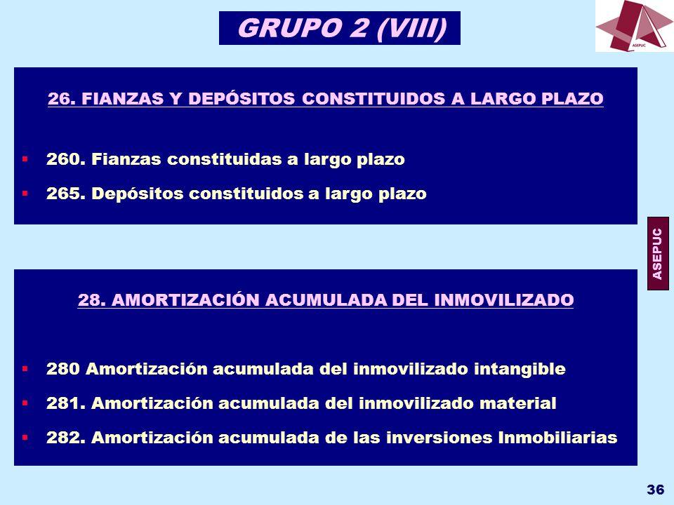 GRUPO 2 (VIII) 26. FIANZAS Y DEPÓSITOS CONSTITUIDOS A LARGO PLAZO