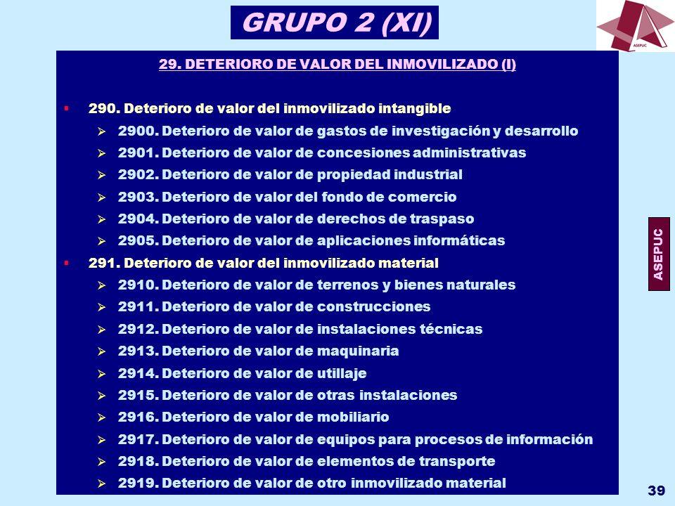 29. DETERIORO DE VALOR DEL INMOVILIZADO (I)