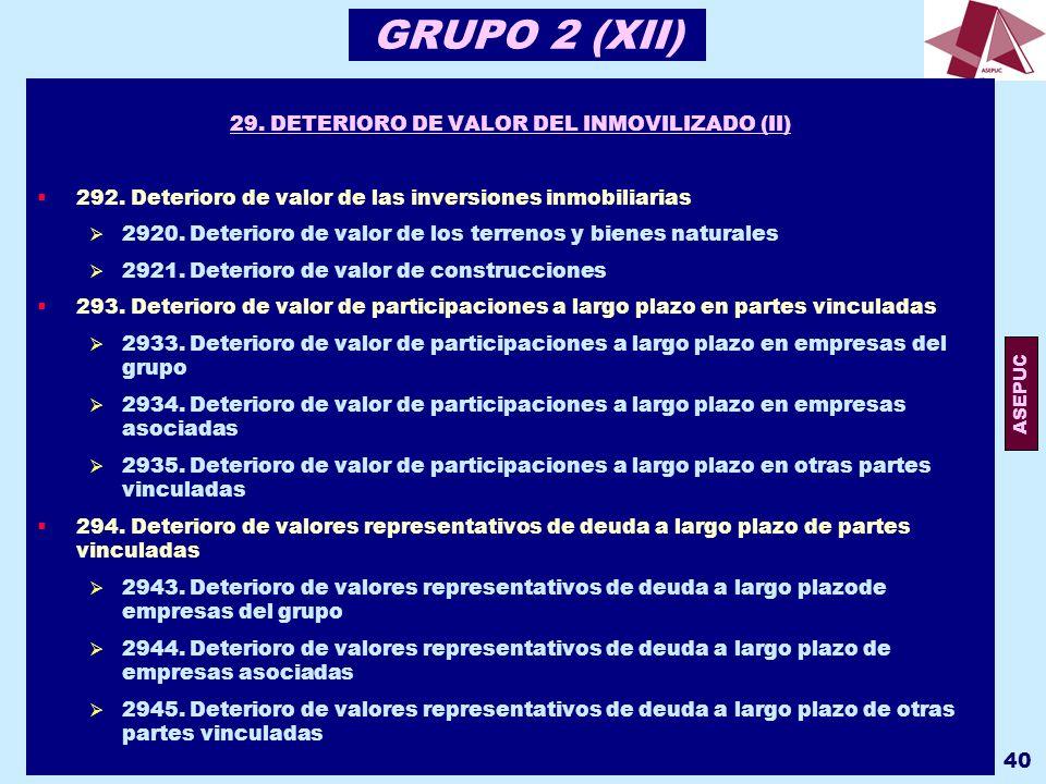 29. DETERIORO DE VALOR DEL INMOVILIZADO (II)