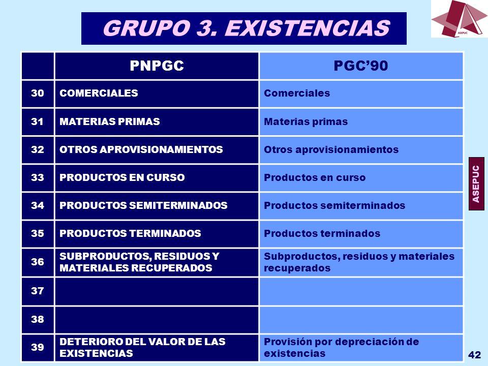 GRUPO 3. EXISTENCIAS PNPGC PGC'90 30 COMERCIALES Comerciales 31