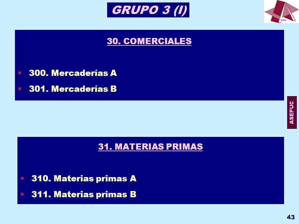 GRUPO 3 (I) 30. COMERCIALES 300. Mercaderías A 301. Mercaderías B
