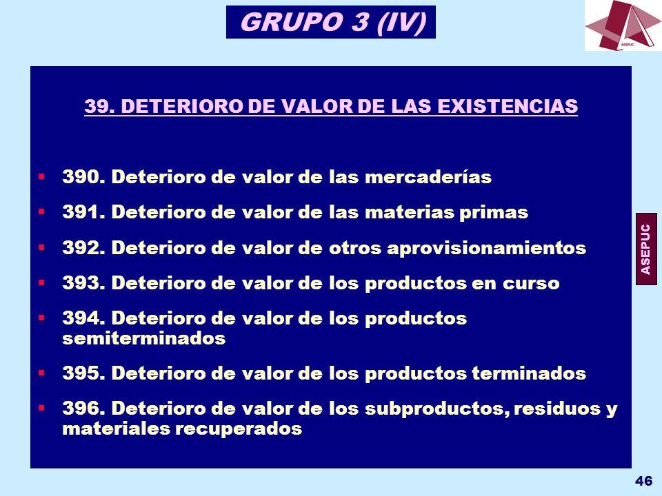 39. DETERIORO DE VALOR DE LAS EXISTENCIAS