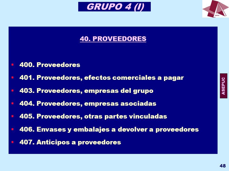 GRUPO 4 (I) 40. PROVEEDORES 400. Proveedores