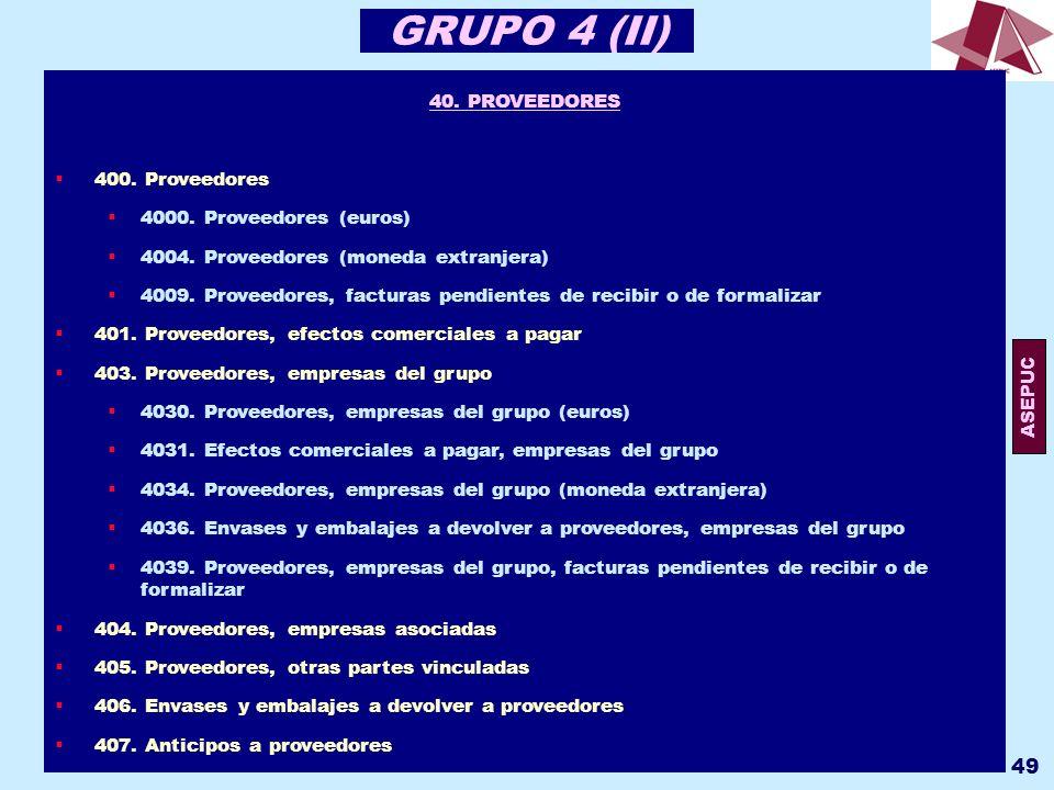 GRUPO 4 (II) 40. PROVEEDORES 400. Proveedores