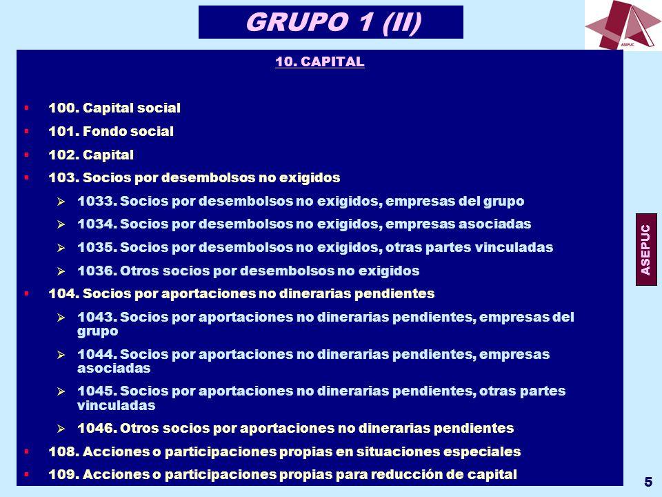 GRUPO 1 (II) 10. CAPITAL 100. Capital social 101. Fondo social