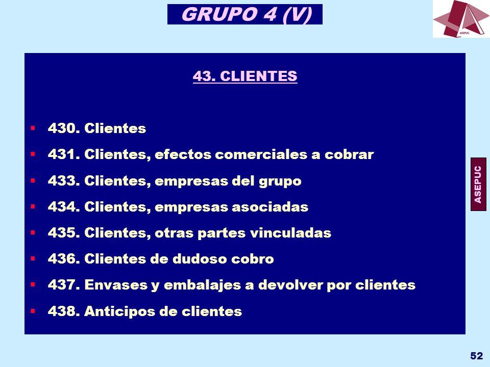 GRUPO 4 (V) 43. CLIENTES 430. Clientes