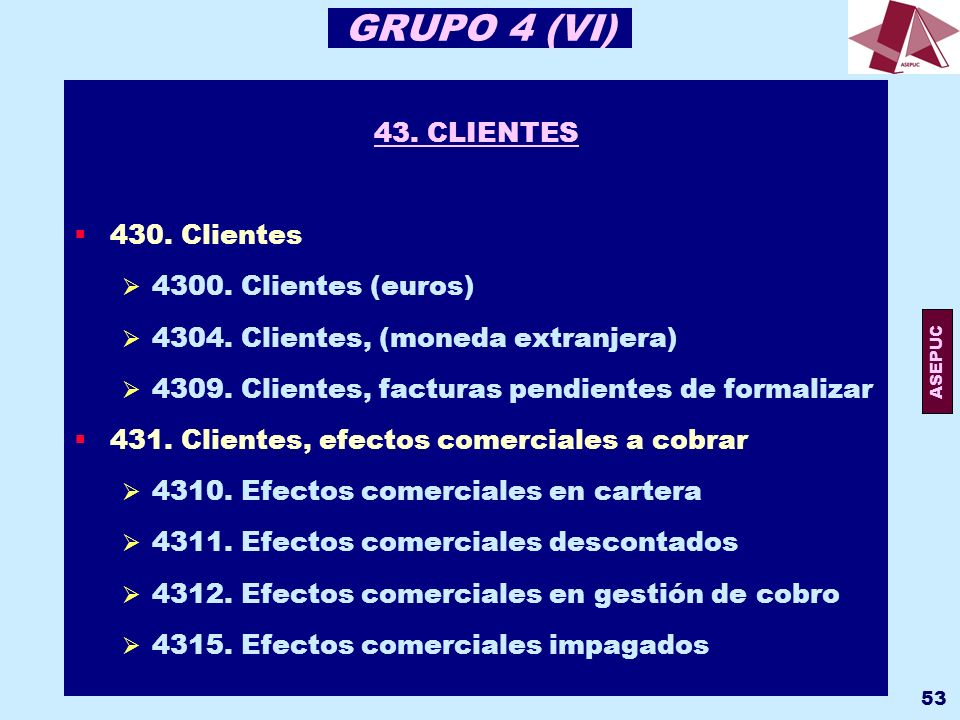 GRUPO 4 (VI) 43. CLIENTES 430. Clientes 4300. Clientes (euros)