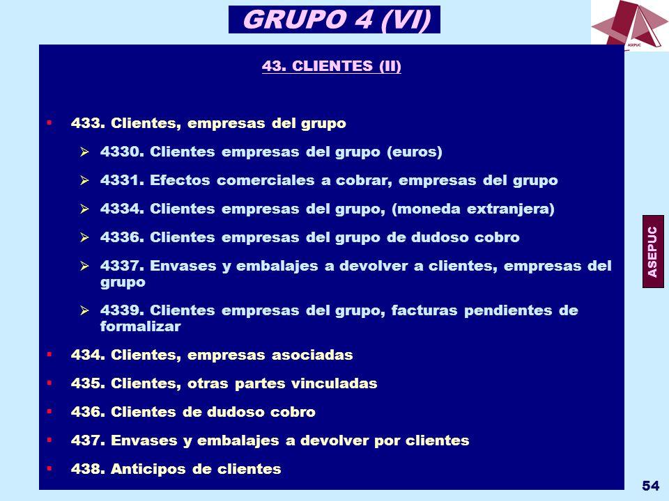 GRUPO 4 (VI) 43. CLIENTES (II) 433. Clientes, empresas del grupo