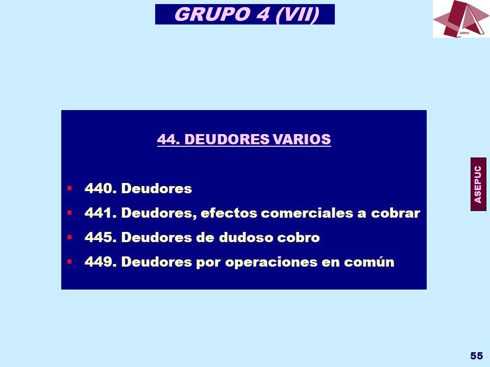 GRUPO 4 (VII) 44. DEUDORES VARIOS 440. Deudores