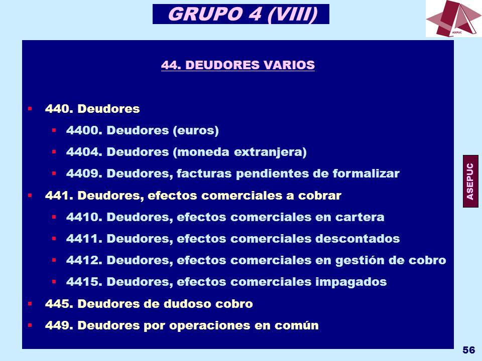 GRUPO 4 (VIII) 44. DEUDORES VARIOS 440. Deudores