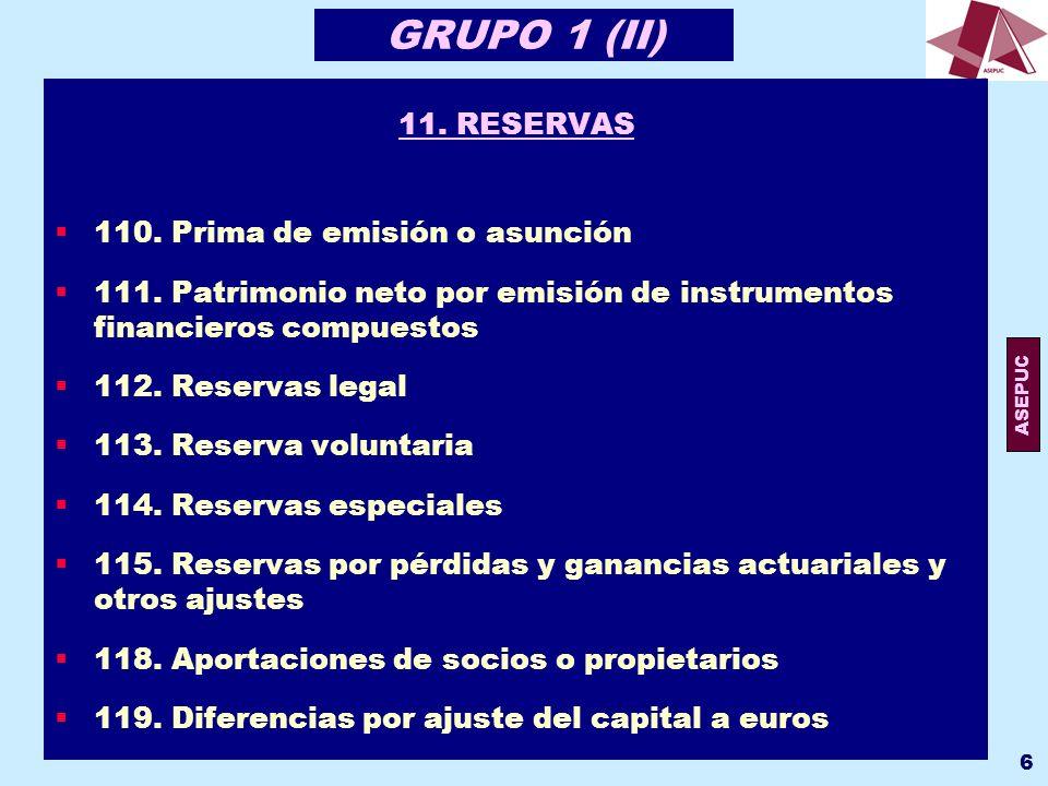 GRUPO 1 (II) 11. RESERVAS 110. Prima de emisión o asunción