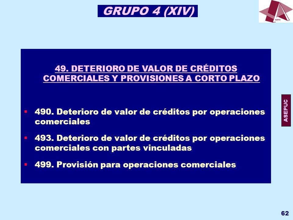 GRUPO 4 (XIV) 49. DETERIORO DE VALOR DE CRÉDITOS COMERCIALES Y PROVISIONES A CORTO PLAZO.