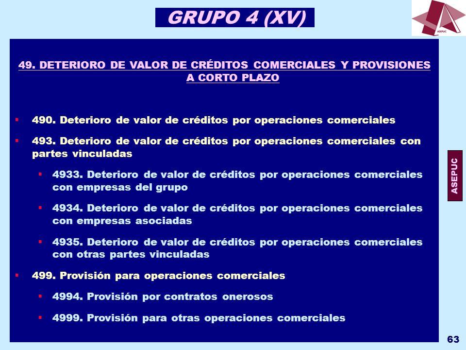 GRUPO 4 (XV) 49. DETERIORO DE VALOR DE CRÉDITOS COMERCIALES Y PROVISIONES A CORTO PLAZO.