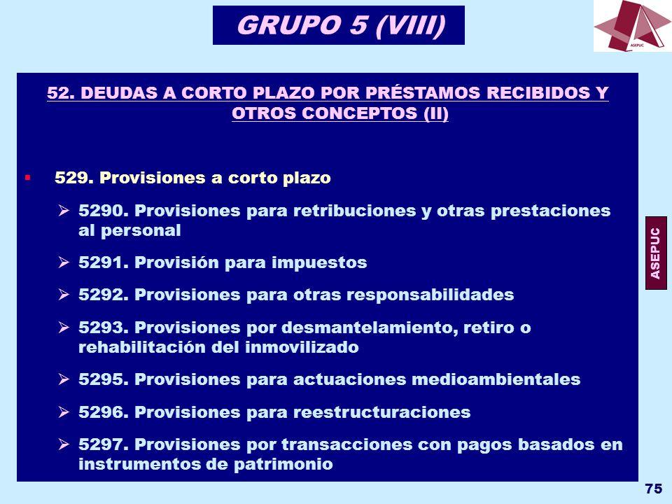 GRUPO 5 (VIII) 52. DEUDAS A CORTO PLAZO POR PRÉSTAMOS RECIBIDOS Y OTROS CONCEPTOS (II) 529. Provisiones a corto plazo.
