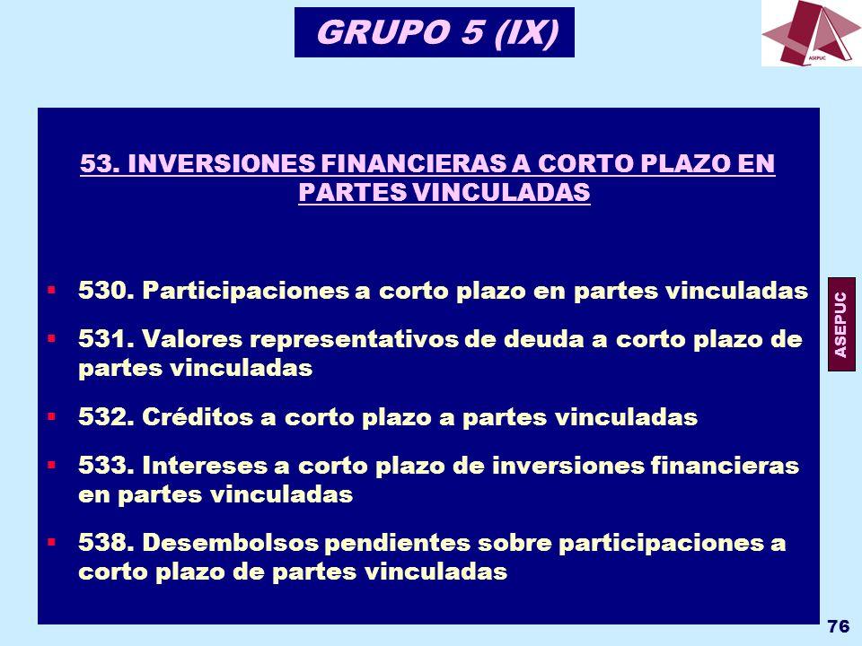 53. INVERSIONES FINANCIERAS A CORTO PLAZO EN PARTES VINCULADAS