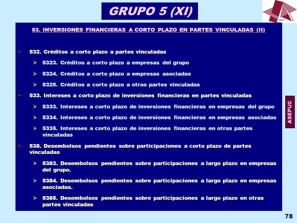 53. INVERSIONES FINANCIERAS A CORTO PLAZO EN PARTES VINCULADAS (II)