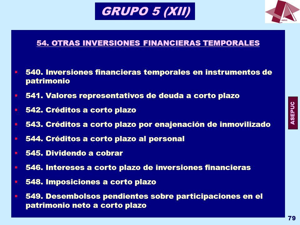 54. OTRAS INVERSIONES FINANCIERAS TEMPORALES