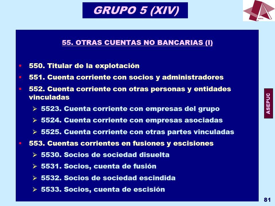 55. OTRAS CUENTAS NO BANCARIAS (I)