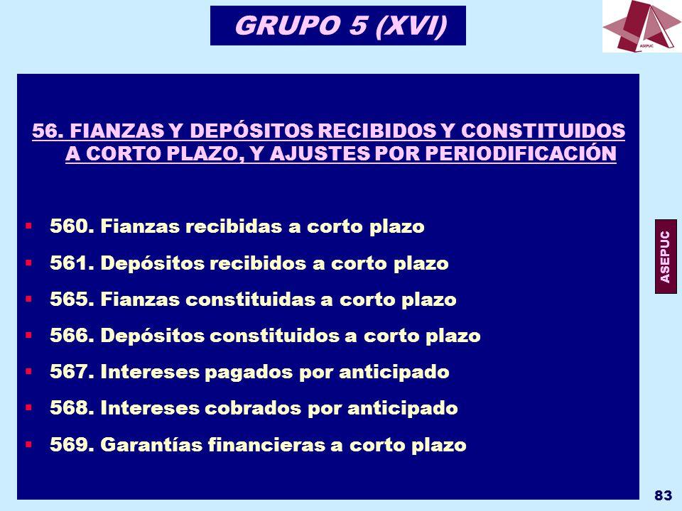 GRUPO 5 (XVI) 56. FIANZAS Y DEPÓSITOS RECIBIDOS Y CONSTITUIDOS A CORTO PLAZO, Y AJUSTES POR PERIODIFICACIÓN.