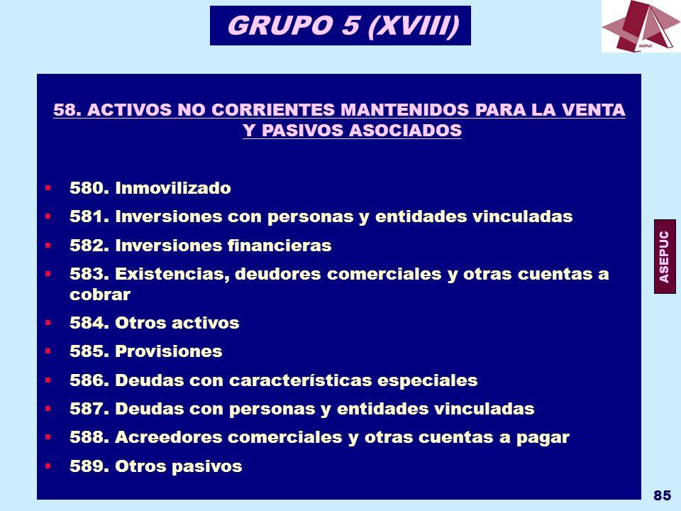 58. ACTIVOS NO CORRIENTES MANTENIDOS PARA LA VENTA Y PASIVOS ASOCIADOS