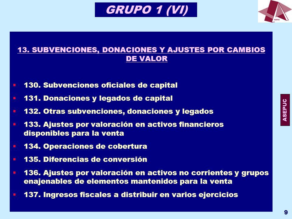 13. SUBVENCIONES, DONACIONES Y AJUSTES POR CAMBIOS DE VALOR
