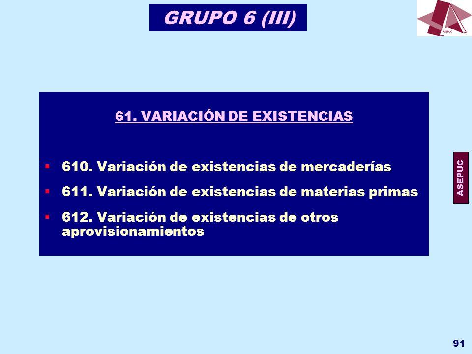61. VARIACIÓN DE EXISTENCIAS
