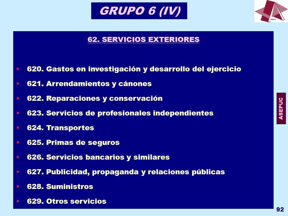 GRUPO 6 (IV) 62. SERVICIOS EXTERIORES