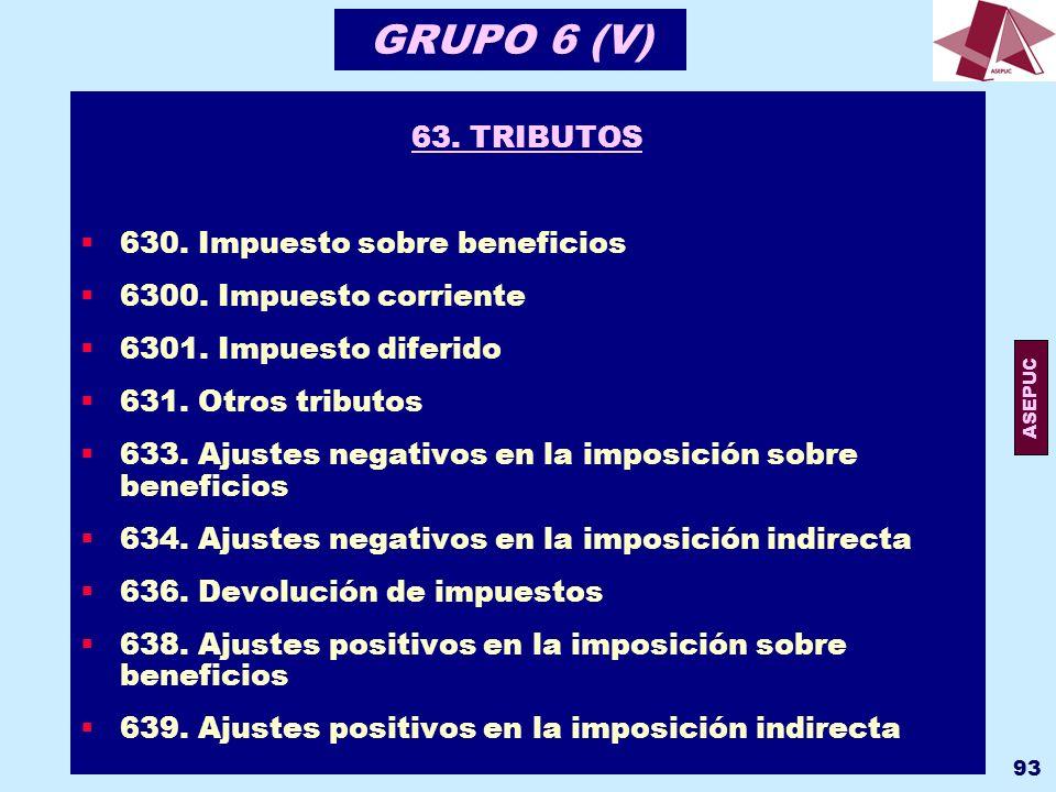 GRUPO 6 (V) 63. TRIBUTOS 630. Impuesto sobre beneficios