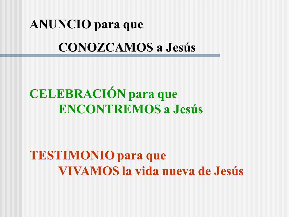 ANUNCIO para que CONOZCAMOS a Jesús. CELEBRACIÓN para que ENCONTREMOS a Jesús.