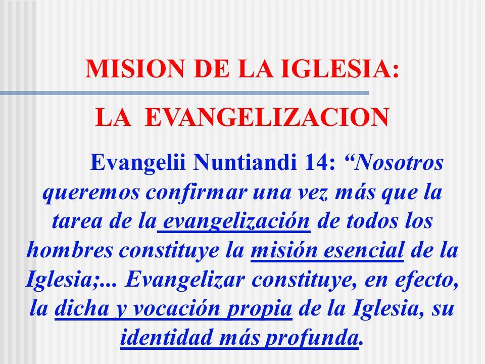 MISION DE LA IGLESIA: LA EVANGELIZACION