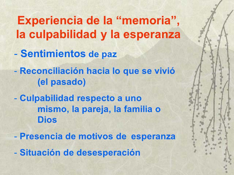 Experiencia de la memoria , la culpabilidad y la esperanza