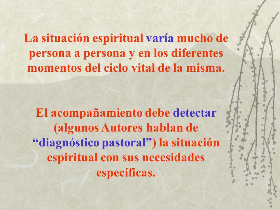 La situación espiritual varía mucho de persona a persona y en los diferentes momentos del ciclo vital de la misma.