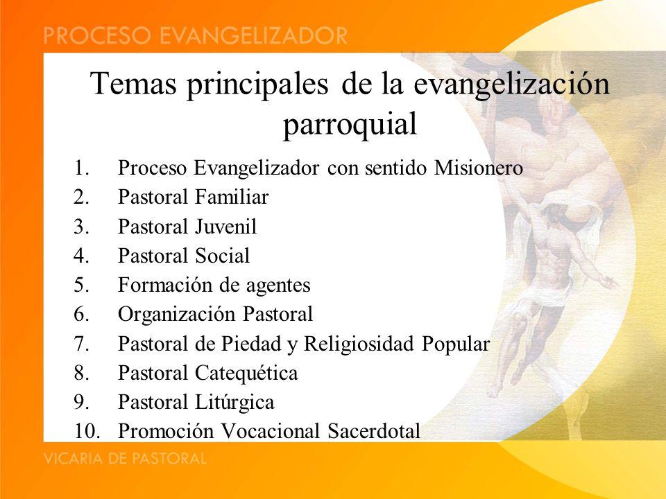 Temas principales de la evangelización parroquial