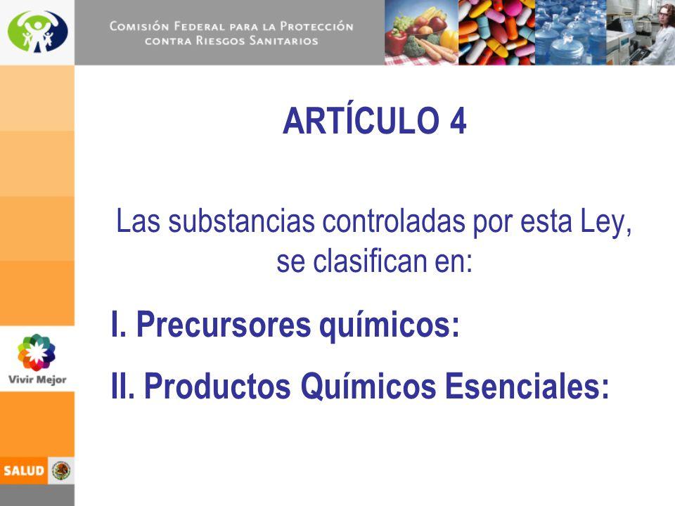Las substancias controladas por esta Ley, se clasifican en: