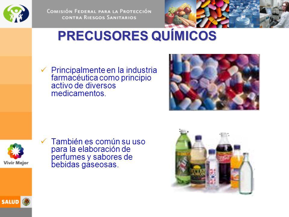 PRECUSORES QUÍMICOS Principalmente en la industria farmacéutica como principio activo de diversos medicamentos.