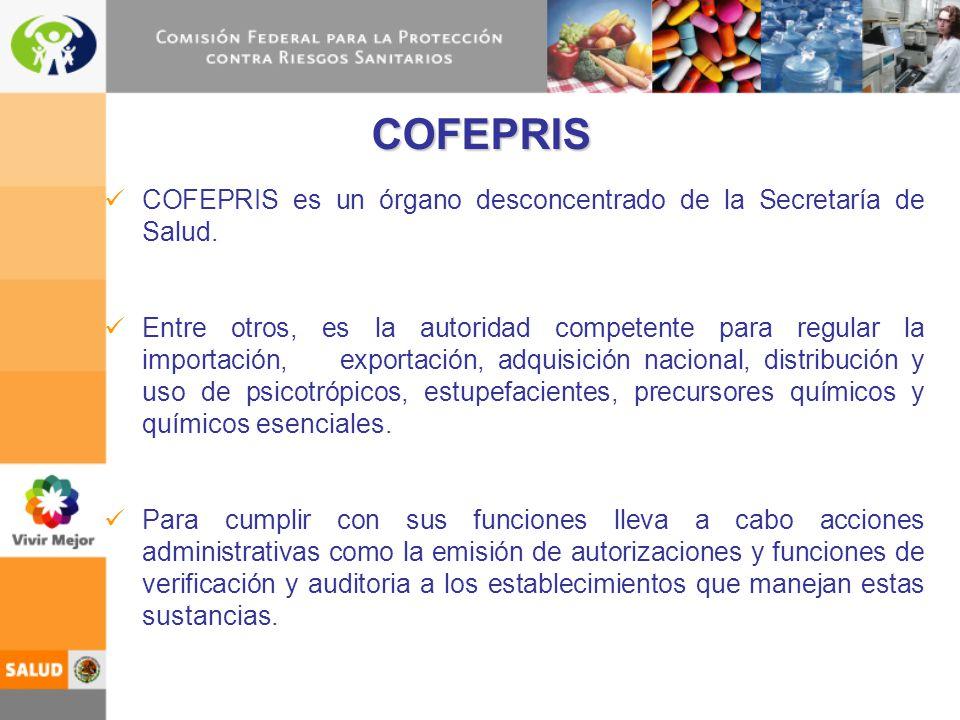 COFEPRIS COFEPRIS es un órgano desconcentrado de la Secretaría de Salud.