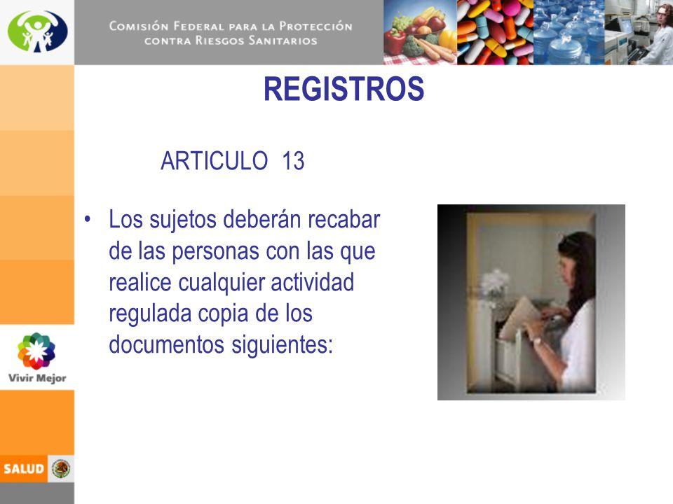 REGISTROS ARTICULO 13.