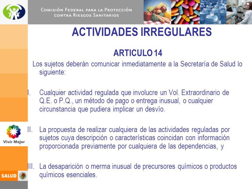 ACTIVIDADES IRREGULARES