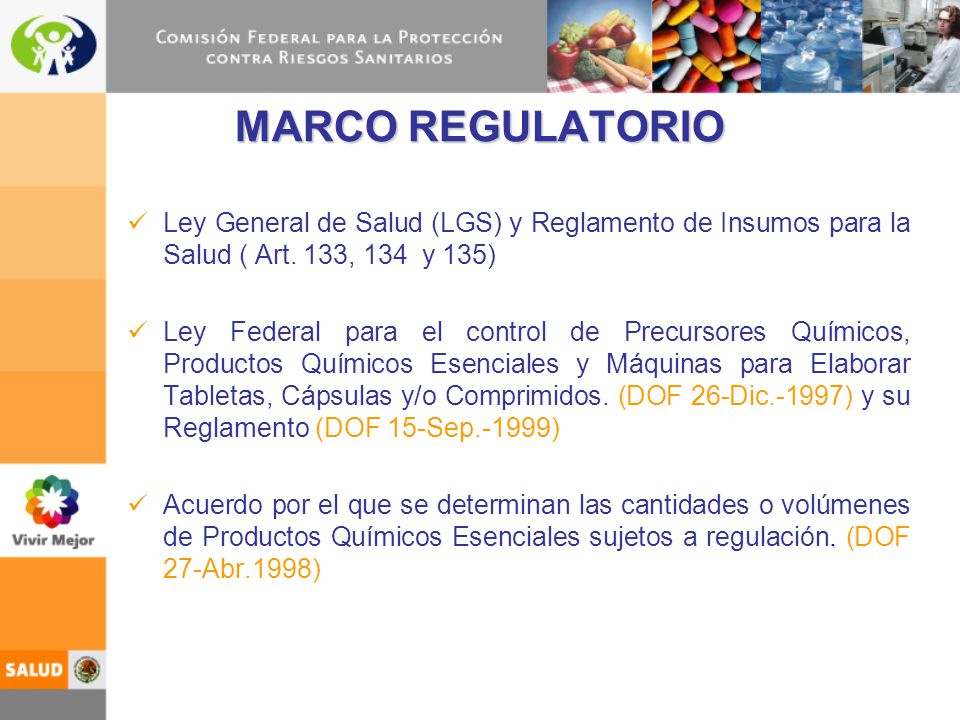 MARCO REGULATORIO Ley General de Salud (LGS) y Reglamento de Insumos para la Salud ( Art. 133, 134 y 135)